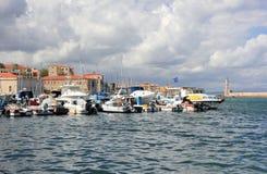 Ansicht des venetianischen Hafens von Chania Kreta, Griechenland Lizenzfreie Stockbilder