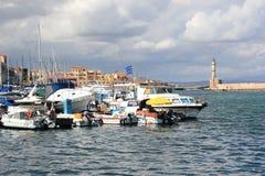 Ansicht des venetianischen Hafens von Chania Kreta, Griechenland Lizenzfreies Stockfoto