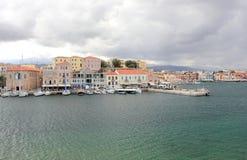 Ansicht des venetianischen Hafens von Chania Kreta, Griechenland Lizenzfreies Stockbild