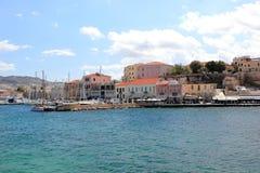 Ansicht des venetianischen Hafens von Chania Kreta, Griechenland Stockfotos