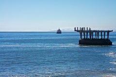Ansicht des verlassenen Docks in Chile Stockbilder