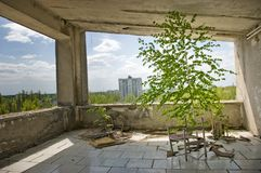 Ansicht des verlassenen Raumes in Pripyat-Stadt Lizenzfreie Stockbilder
