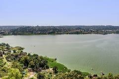 Ansicht des Viktoriasees und des Mwanza, Tansania stockfoto