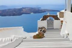 Ansicht des Vulkankessels mit Treppe, Santorini Lizenzfreie Stockfotos