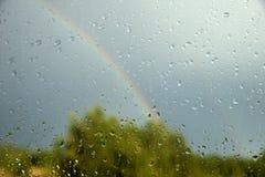 Ansicht des Waldes und des Regenbogens durch Fenster Lizenzfreies Stockfoto