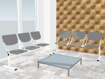 Ansicht des Warteraumes in einer Bürolobby mit dekorativer Wand vektor abbildung