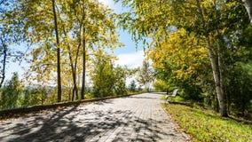 Ansicht des Weges in Lagerniy traurig, Herbst in Tomsk, Sibirien lizenzfreies stockfoto
