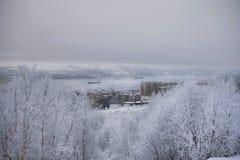 Ansicht des Winterhafens Stockbilder