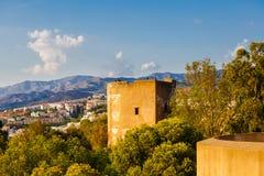 Ansicht des Wohngebiets von Màlaga von der Höhe von Castillo de Gibralfaro Lizenzfreies Stockfoto