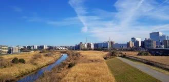 Ansicht des Wohnsitzbereichs in Japan beobachtete Formvorort lizenzfreie stockfotos