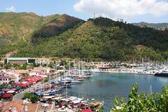 Ansicht des Yachtjachthafens in Marmaris Lizenzfreie Stockfotografie