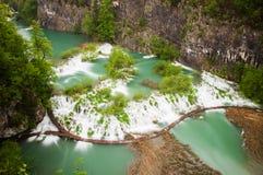 Ansicht in die Plitvice Seen Stockbilder