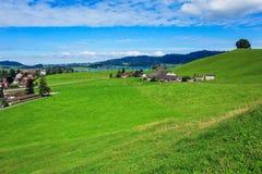 Ansicht in die Stadt von Einsiedeln in der Schweiz im Herbst Lizenzfreie Stockbilder
