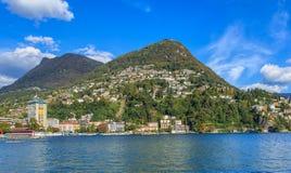 Ansicht in die Stadt von Lugano, die Schweiz Lizenzfreie Stockfotografie