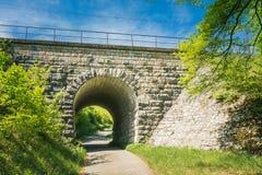 Ansicht durch einen alten Tunnel, über dem der Zug reist Stockbild