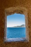 Ansicht durch einen Ausblick an Calvi-Zitadelle Lizenzfreie Stockfotografie
