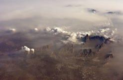 Ansicht durch Flugzeugöffnung Stockfoto