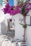 Ansicht einer typischen schmalen Straße in der alten Stadt von Naoussa, Paros-Insel stockbilder