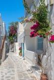 Ansicht einer typischen schmalen Straße in der alten Stadt von Naoussa, Paros-Insel, die Kykladen lizenzfreie stockfotografie