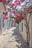Ansicht einer typischen schmalen Stra?e in der alten Stadt von Naoussa, Paros-Insel, die Kykladen stockfotos