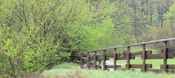 Ansicht eines Feldes, des Lattenzauns und des Weges Stockbild
