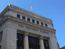 Ansicht eines Gebäudes nannte die Sicherheitsmitte Stockfotos
