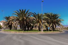 Ansicht eines Kreisverkehrkreises und -insel mit Palmen in Maspalomas, Gran Canaria, Spanien Lizenzfreies Stockfoto