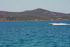 Ansicht eines Motorboots Stockbild