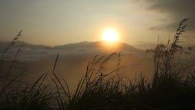 Ansicht eines nebeligen Sonnenaufgangs auf der kleinen des Adams Spitze in Ella Ella ist eine schöne kleine schläfrige Stadt auf  stock video footage