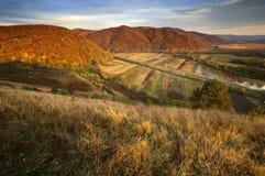 Ansicht eines Tales über Hügeln im Herbst Stockbilder