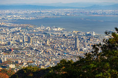 Ansicht einiger japanischer Städte in der Kansai-Region von Mt maya Lizenzfreies Stockbild