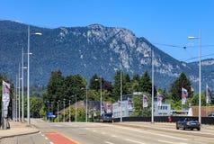 Ansicht entlang Roetistrasse-Straße in Solothurn, die Schweiz Lizenzfreie Stockfotos