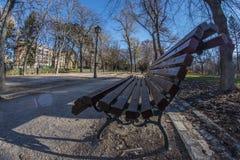 Ansicht Fisheye 180 einer Holzbank im Retiro-Park in Madrid Lizenzfreie Stockfotos