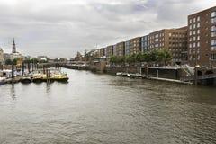 Ansicht historischen Speicherstadt-Bezirkes, Hamburg, deutsche Stadt stockbilder