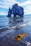 Ansicht am Hvitserkur-Basaltstapel von der Grenze von Hindisvik-Bucht in Nordwest-Island lizenzfreies stockbild