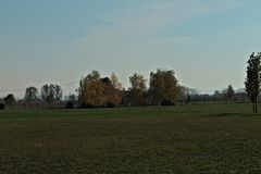 Ansicht am leeren Feld und am Haus des Herbstes umgeben durch Bäume Lizenzfreies Stockbild