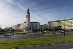 Ansicht Marques de Pombal Squares in der Stadt von Lissabon stockfotos