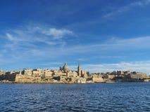 Ansicht mit Valleta-Stadt in Malta Lizenzfreie Stockbilder