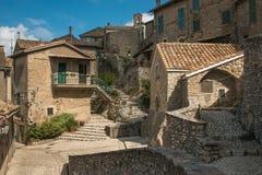 Ansicht mittelalterlichen Roccantica-Dorfs in Lazio, Italien lizenzfreies stockbild