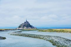 Ansicht Mont Saint Michels, Normandie Frankreich lizenzfreie stockfotografie