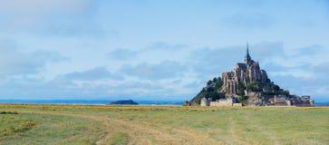 Ansicht Mont Saint Michels, Normandie Frankreich Panorama lizenzfreies stockfoto