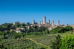 Ansicht nach San Gimignano, Toskana, Italien stockfotografie