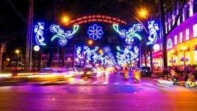 Ansicht am Nachtverkehr in Ho Chi Minh City Lizenzfreies Stockfoto