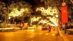 Ansicht am Nachtverkehr in Ho Chi Minh City Stockbild