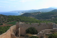 Ansicht nahe dem Kap Kopria auf Rhodos-Insel Stockfotos