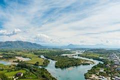 Ansicht nahe Shkodar-Stadt von Rozafa-Schloss, Albanien Stockfotografie