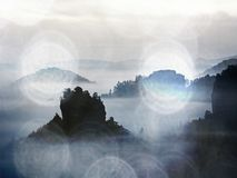 Ansicht in nebelhaftes Tal Hohe Bäume und felsige Spitzen erhöhten sich vom starken Nebel Die ersten Sonnenstrahlen schaffen outl Lizenzfreies Stockfoto