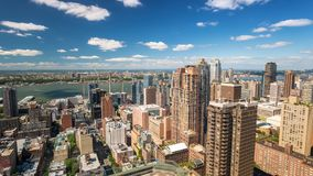 Ansicht New York Midtowm Manhattan am Kai Dachspitzen-Tag Timelapse stock video