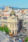 Ansicht oben auf Gran über Straße in Madrid, zur Tageszeit, Verkehr, c Stockfoto