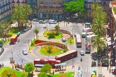 Ansicht oben auf Quadrat, Piazza der Königin Placa de la Reina herein Lizenzfreie Stockfotos